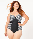 Unique Vintage Plus Size Black & White Houndstooth Pin-Up Clemente Swimsuit