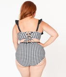 Unique Vintage Plus Size Black & White Houndstooth Southampton Swim Top