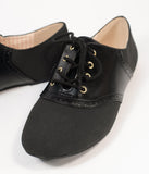B.A.I.T. Black Leatherette Saddle Emmie Flats