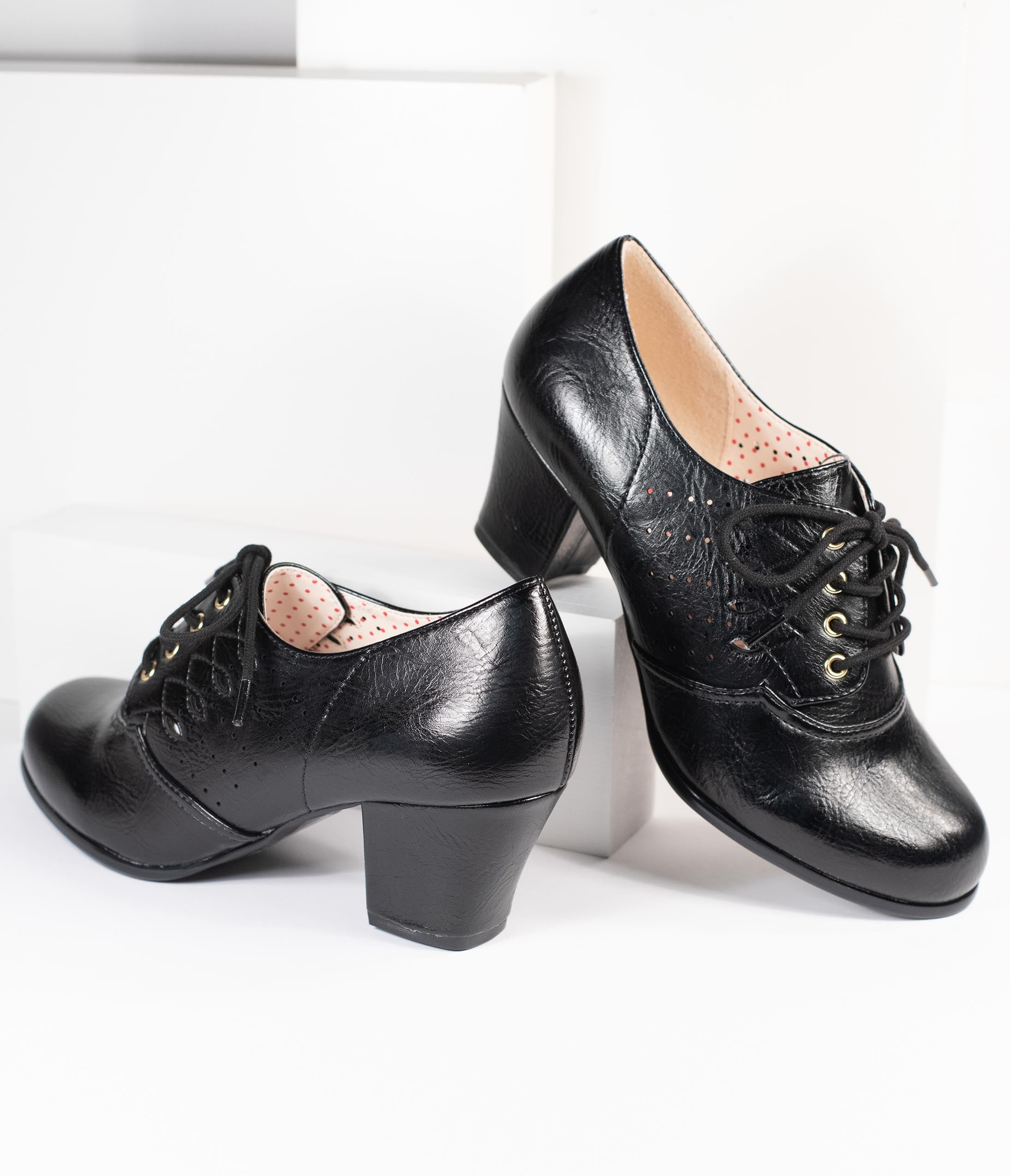 70s Shoes, Platforms, Boots, Heels | 1970s Shoes B.a.i.t. Black Leatherette Rosie Oxford Heel $74.00 AT vintagedancer.com