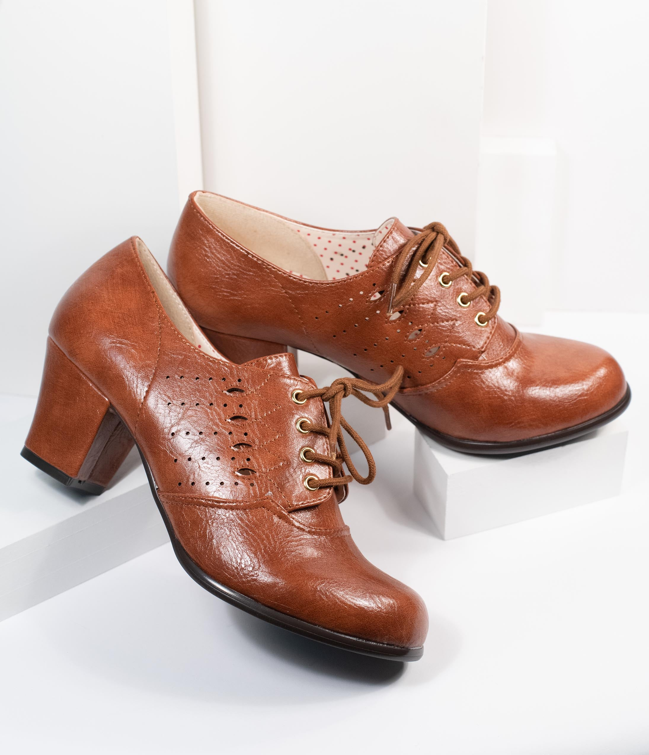 Vintage Shoes, Vintage Style Shoes B.a.i.t. Tan Leatherette Rosie Oxford Heel $74.00 AT vintagedancer.com
