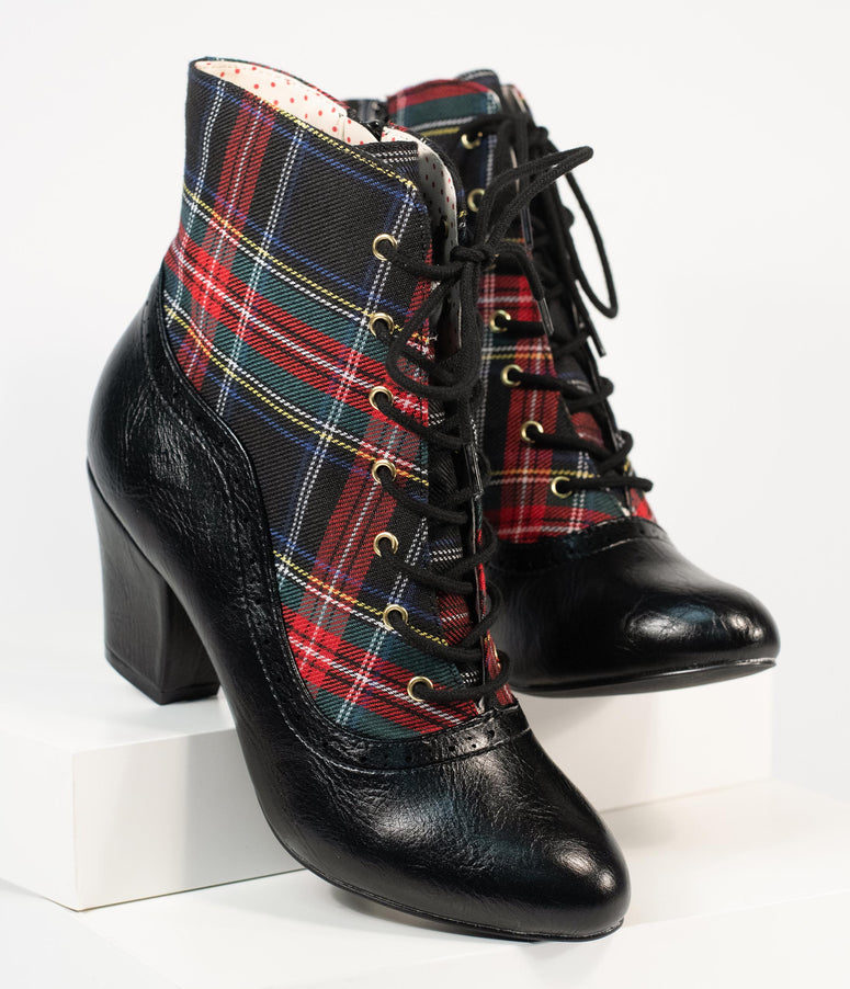 B.A.I.T. Retro Multicolor Plaid Haku Bootie