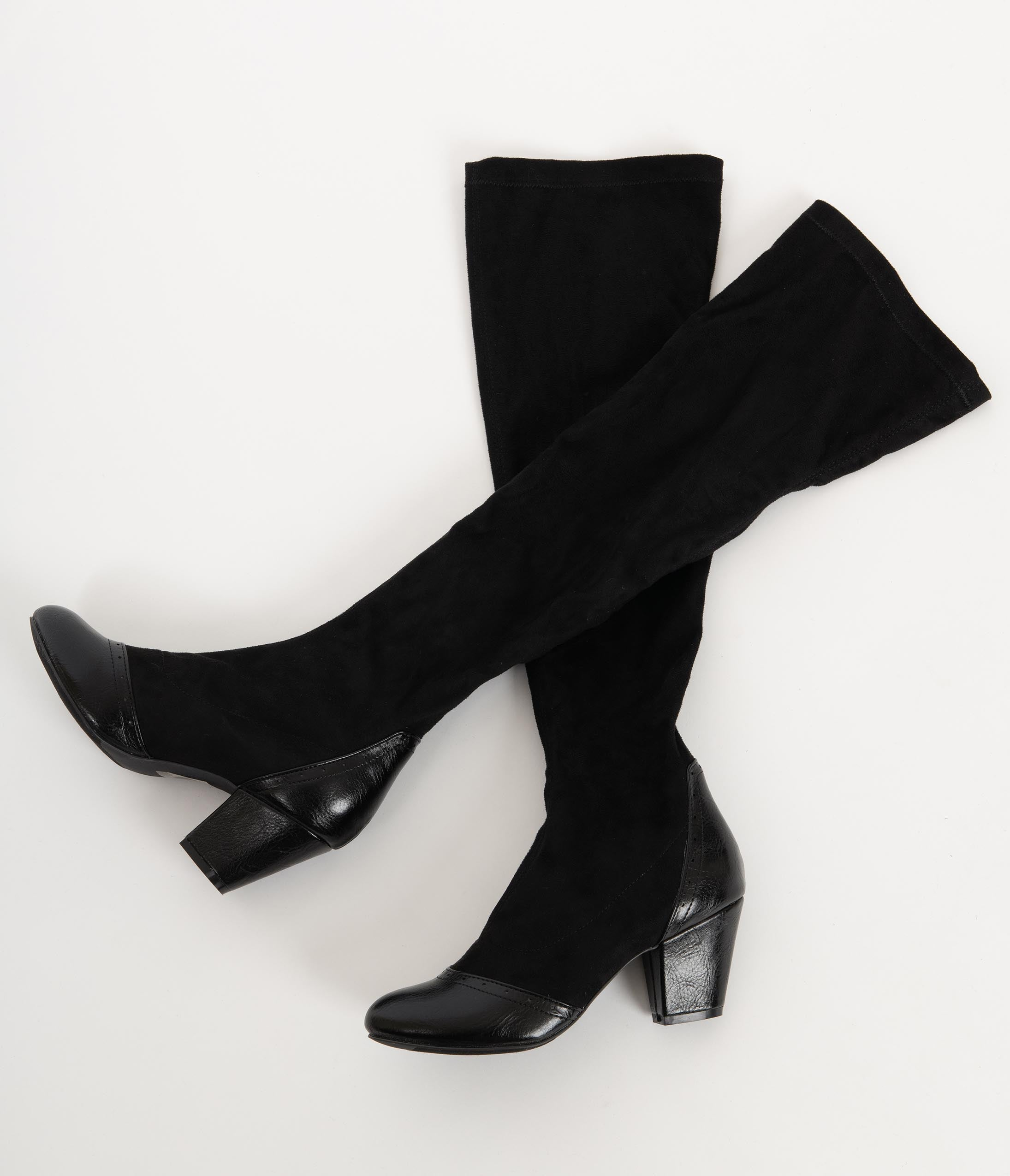 70s Shoes, Platforms, Boots, Heels | 1970s Shoes B.a.i.t. Black Suede Hysteric Knee-High Boots $86.00 AT vintagedancer.com