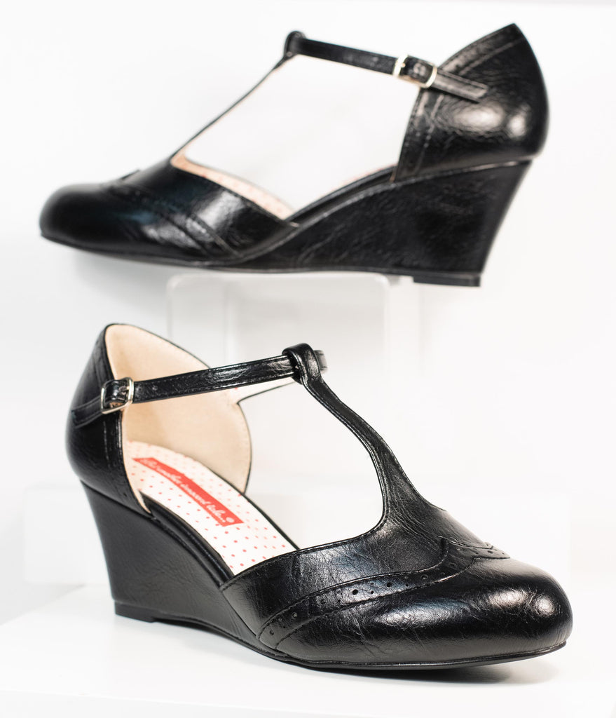 B.A.I.T. Black Leatherette T-Strap Resort Wedges