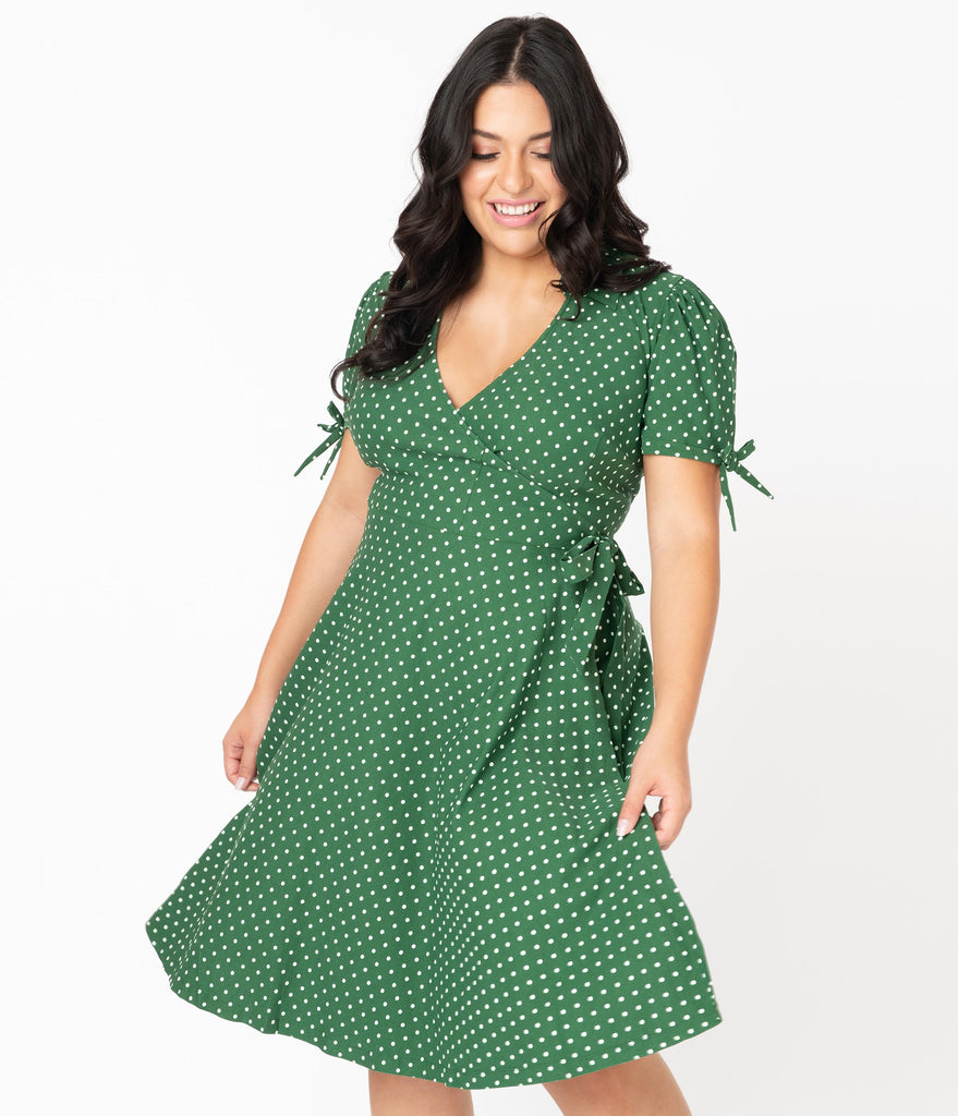 Unique Vintage Plus Size Retro Green & White Pin Dot Bianca Wrap Dress