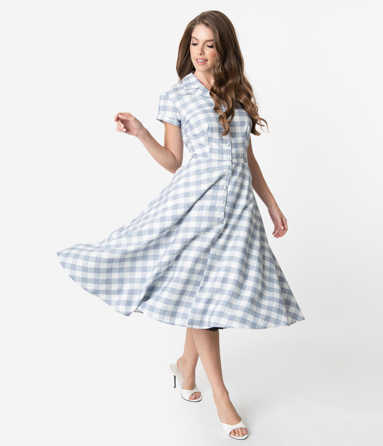 Unique Vintage 1950s Style Light Blue & White Gingham Alexis Swing Dress