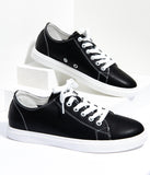Black Leatherette Classic Sneakers