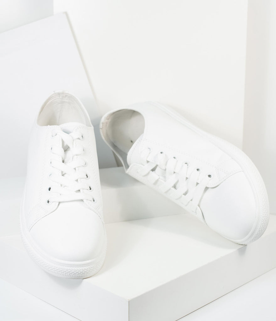 White Leatherette Classic Sneakers