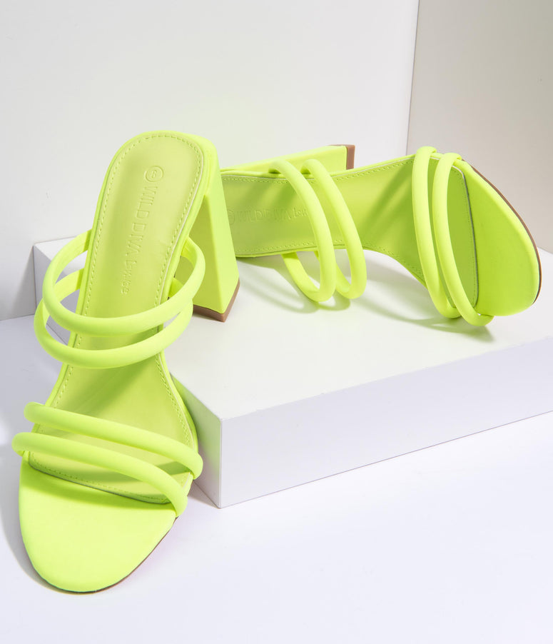 Neon Chunky Heel Strappy Mules