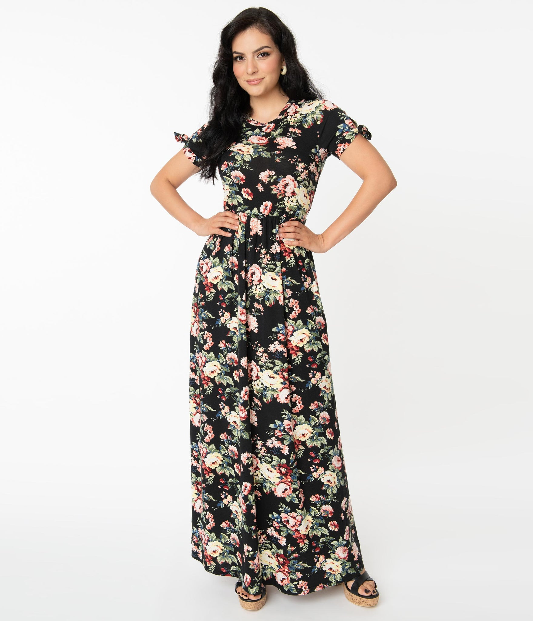 Black & Rose Floral Mallory Maxi Dress