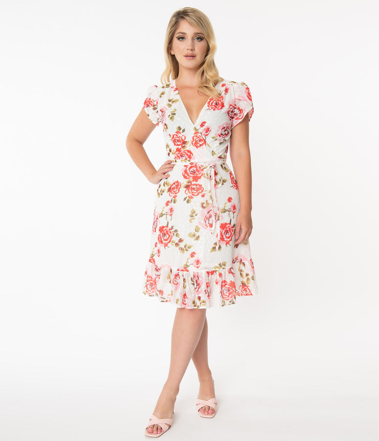Smak Parlour Ivory & Red Rose Eyelet Hide And Go Chic Midi Dress