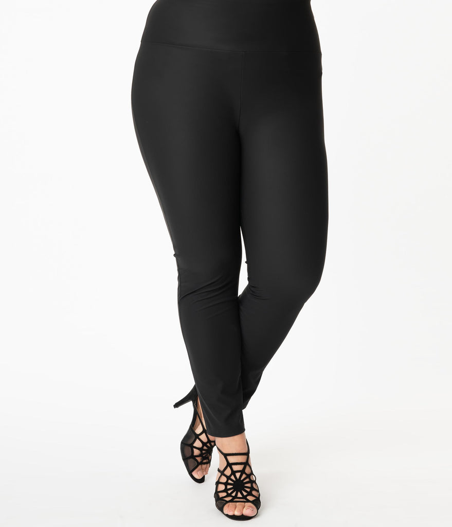 Plus Size Black Matte Slim Fit Leggings