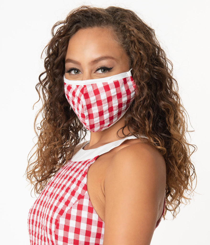 Smak Parlour Red & White Gingham Face Mask