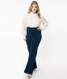 Plus Size Navy Blue Sparkle Wide Leg Pants