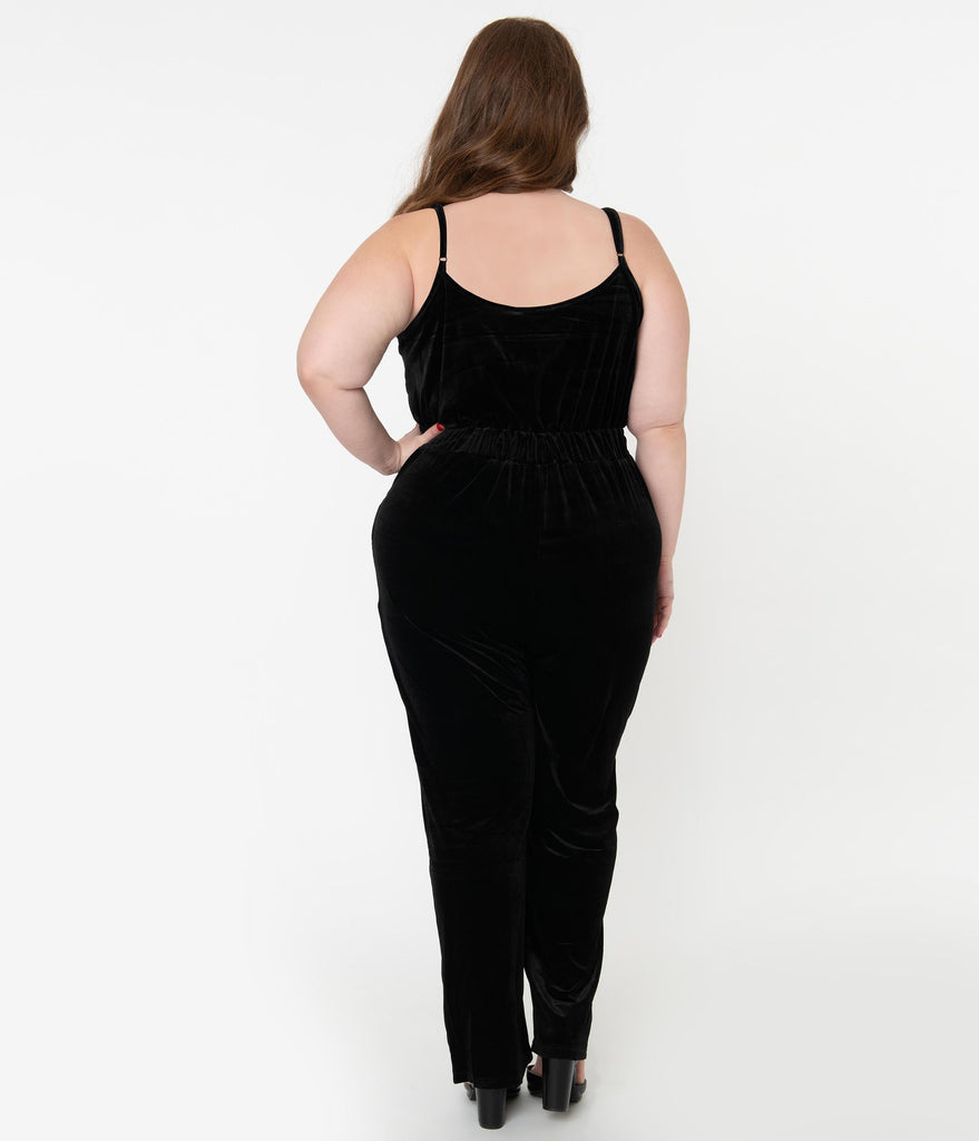 Plus Size Black Velvet & Lace Sleeveless Jumpsuit