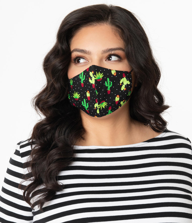 Retro Potted Cactus Print Face Mask