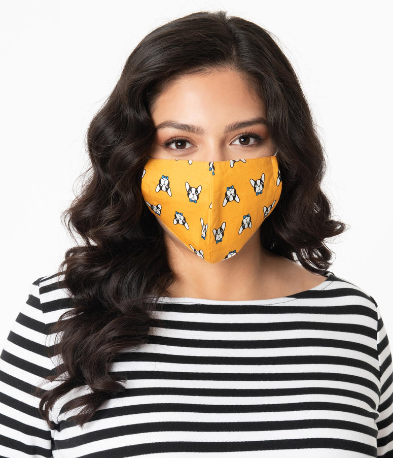 Mustard Frenchie Print Face Mask