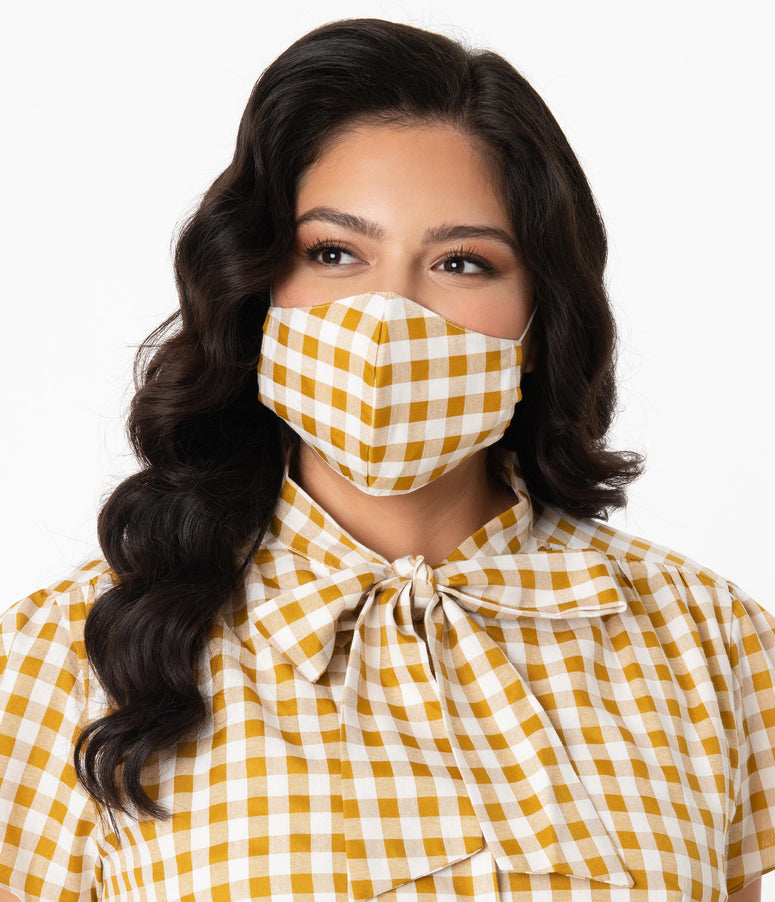 Mustard & Yellow Gingham Print Face Mask