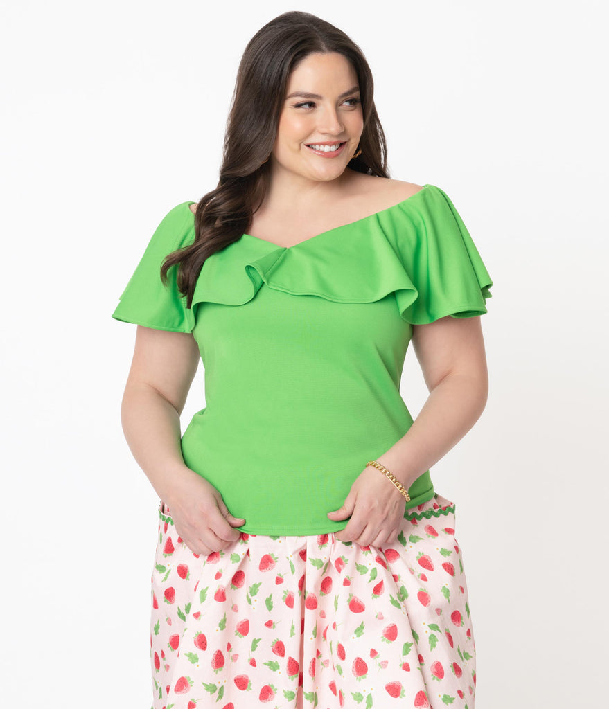 Unique Vintage Plus Size Bright Green Frenchie Top
