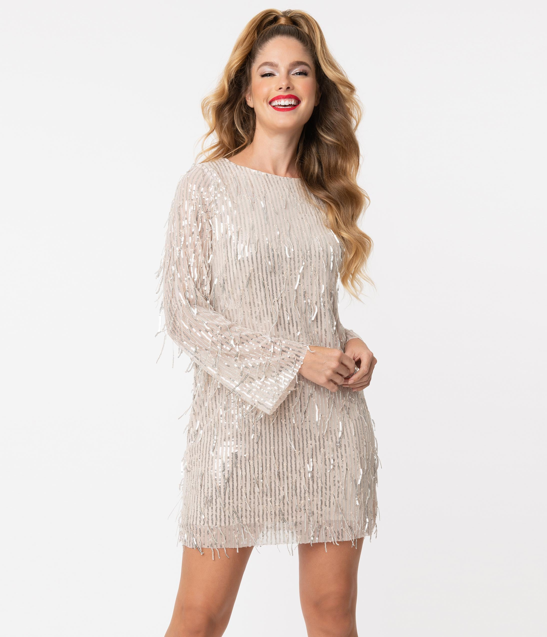 70s Dresses – Disco Dress, Hippie Dress, Wrap Dress Beige  Silver Sequin Fringe Shift Dress $68.00 AT vintagedancer.com
