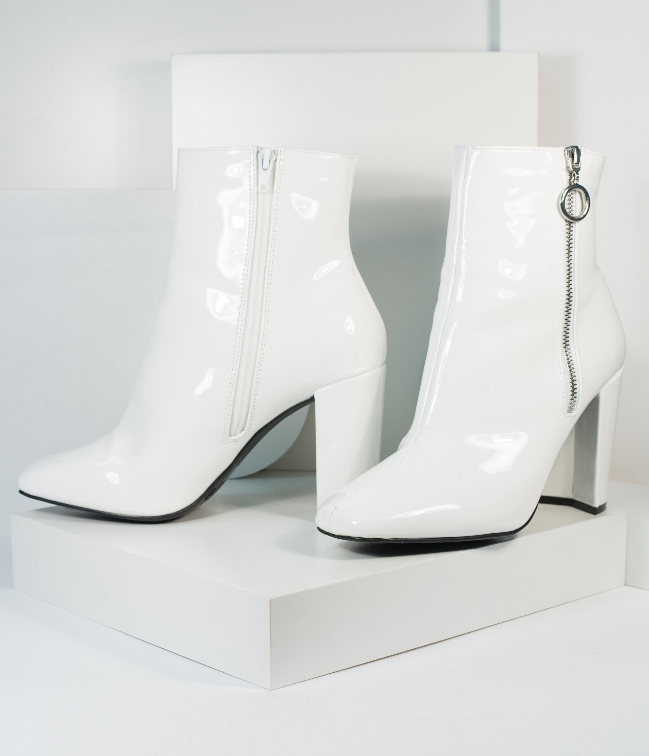 70s Shoes, Platforms, Boots, Heels | 1970s Shoes 1970S White Patent Leatherette Gogo Bootie $56.00 AT vintagedancer.com