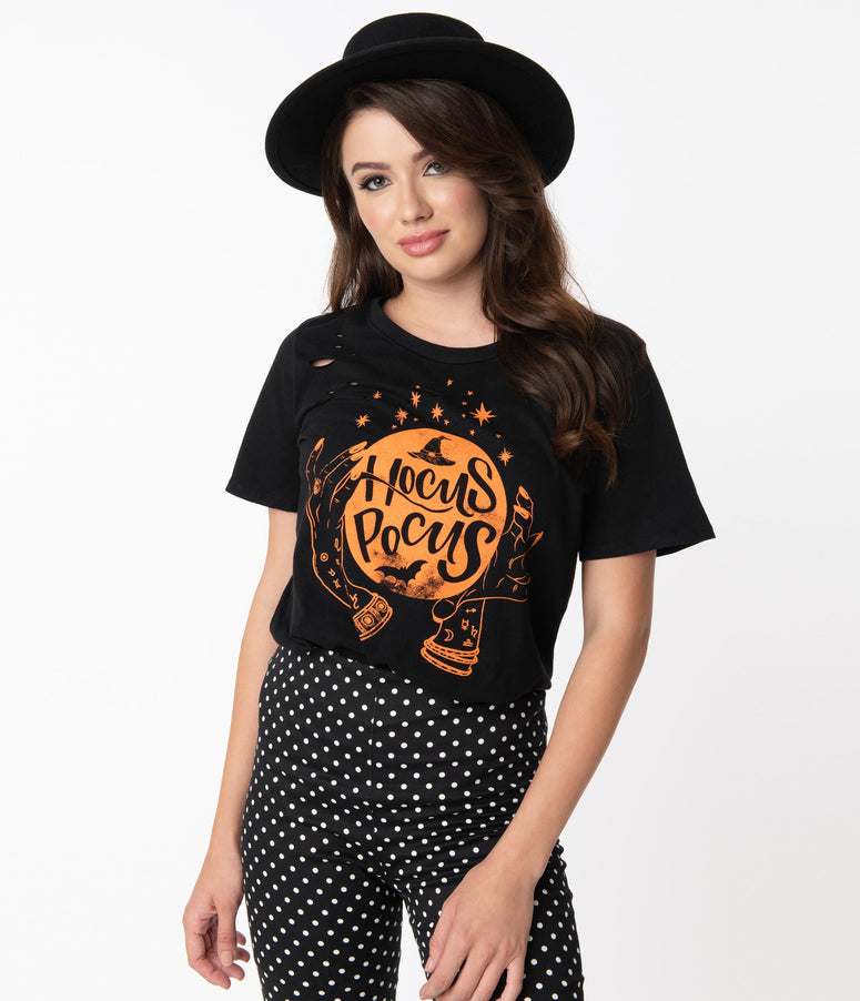 Black & Orange Hocus Pocus Distressed Tee