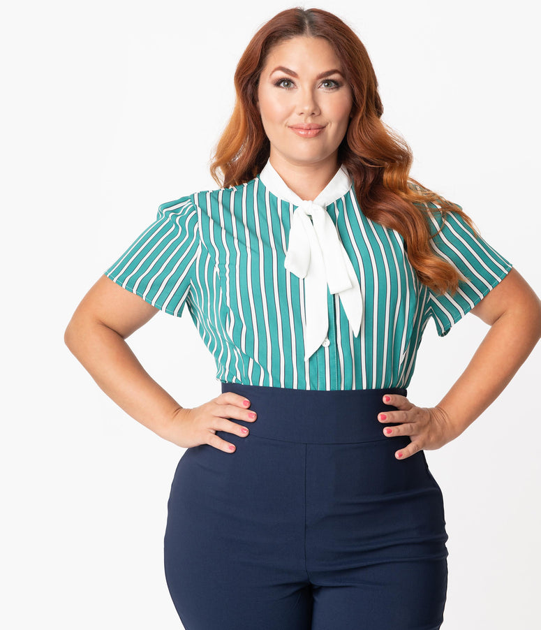 Unique Vintage Plus Size 1940s Teal & White Stripe Elsie Blouse