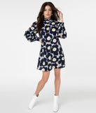 Smak Parlour Dark Blue Floral Print Girl Talk Dress