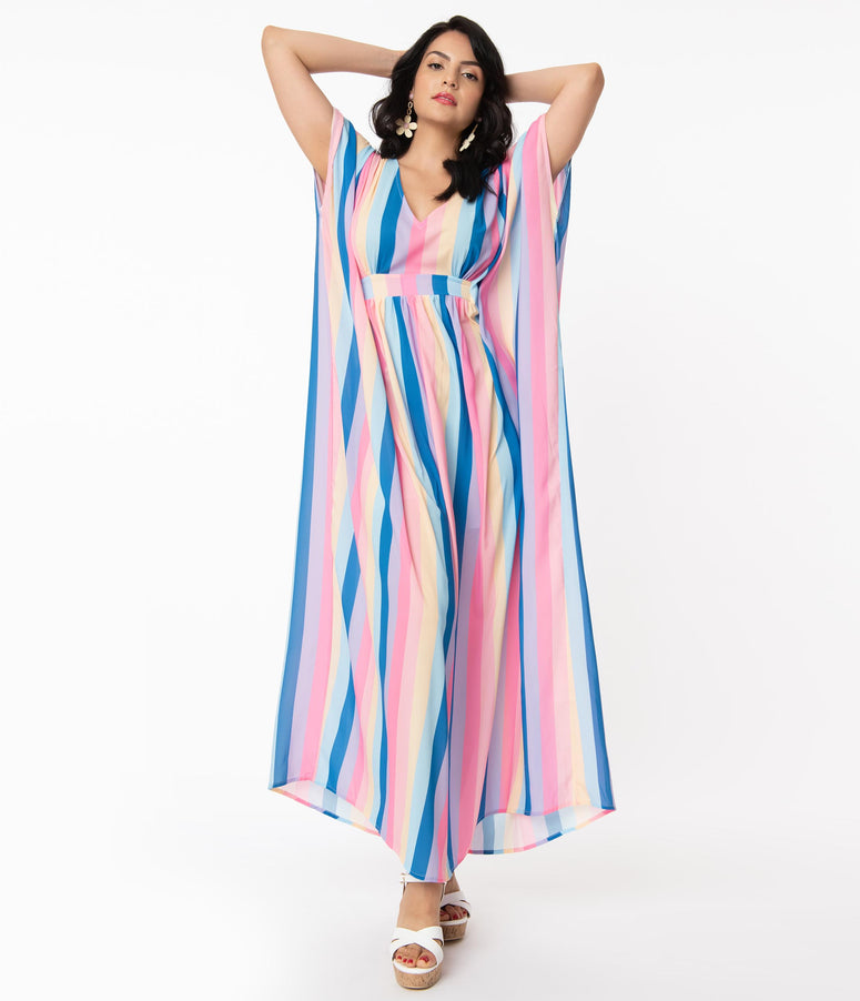Unique Vintage 1970s Multicolor Stripe Burton Caftan Dress