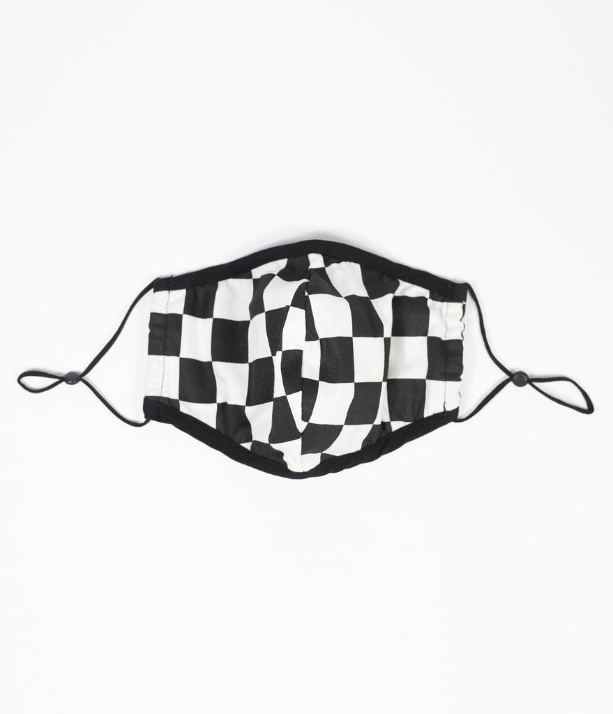 Smak Parlour Black & White Checkered Face Mask