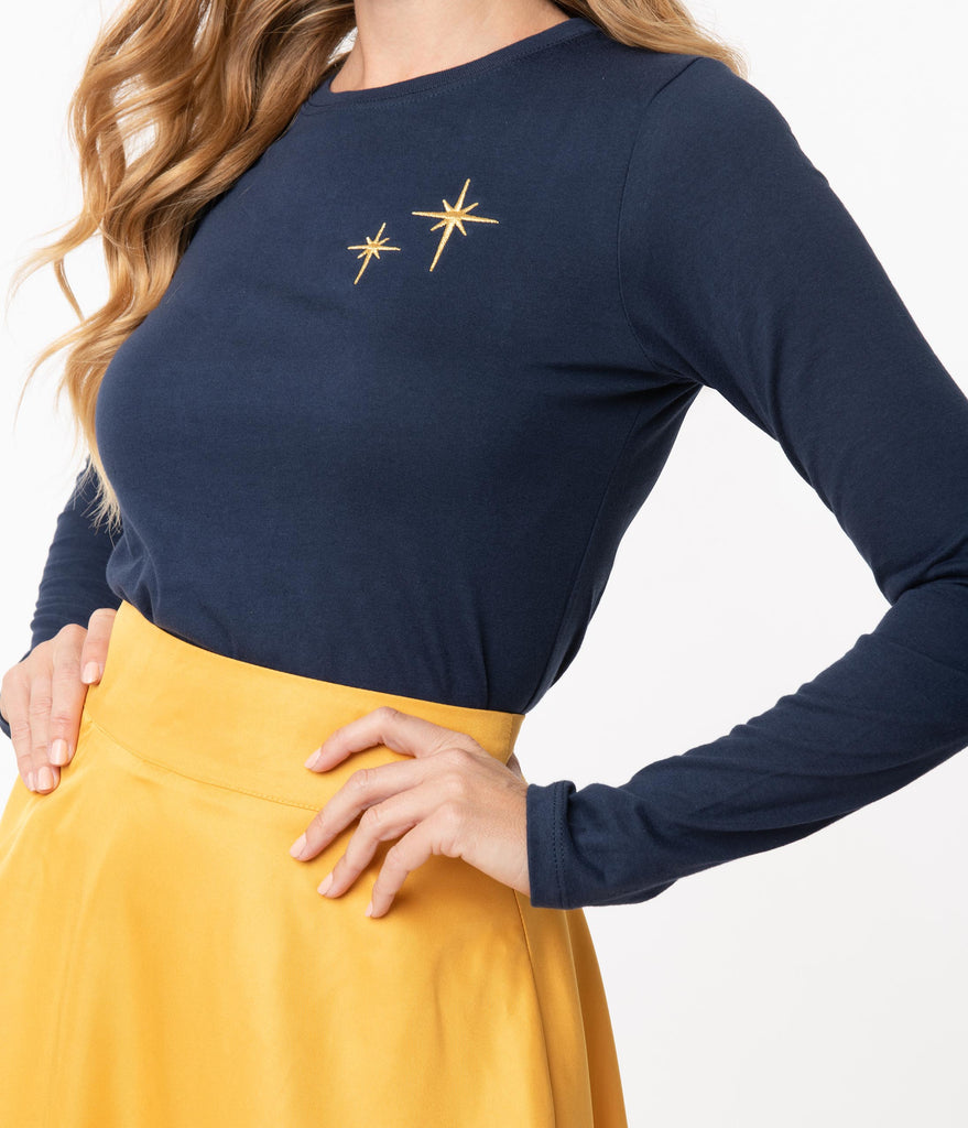 Whosits and Whatsits Navy Second Star Fitted Tee
