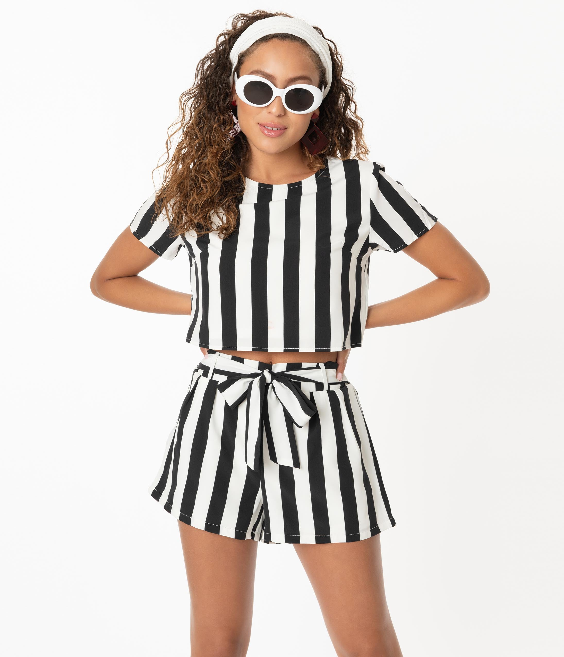 Vintage Rompers, Playsuits   Retro, Pin Up, Rockabilly Playsuits Retro Style Black  White Stripe Two Piece Romper Set $58.00 AT vintagedancer.com