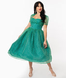 Unique Vintage Green & White Swiss Dot Libby Swing Dress