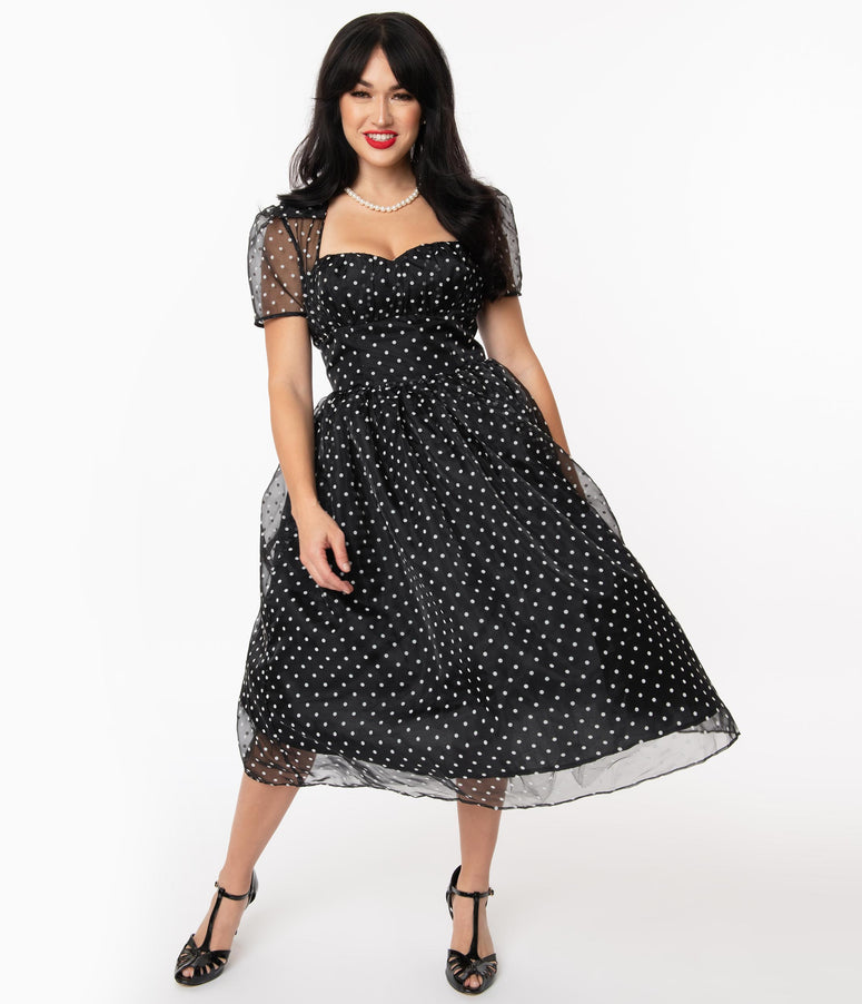 Unique Vintage Black & White Swiss Dot Libby Swing Dress