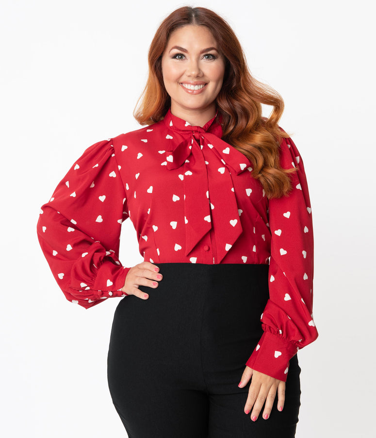 Unique Vintage Plus Size Red & White Heart Print Gwen Blouse