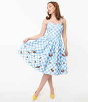 Animal Checkered Gingham Print Pocketed Darts Vintage Swing-Skirt Dress