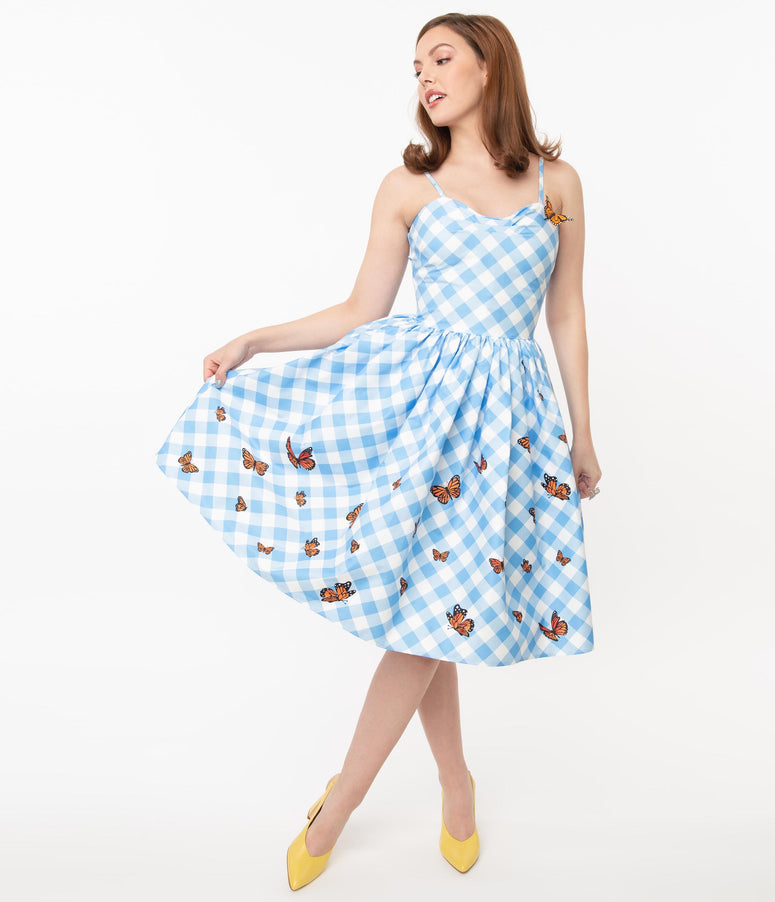 Unique Vintage Blue Gingham & Butterfly Darcy Swing Dress