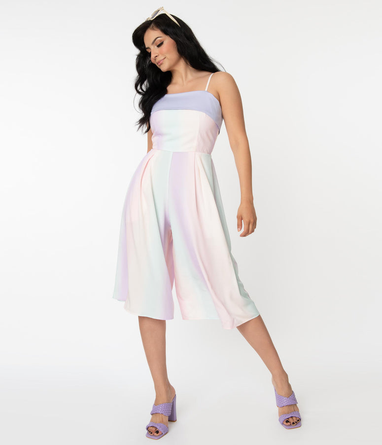Unique Vintage Pastel Rainbow Ombre Nancy Romper