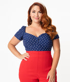 Unique Vintage Plus Size Navy & Anchor Print Sweetheart Nora Top