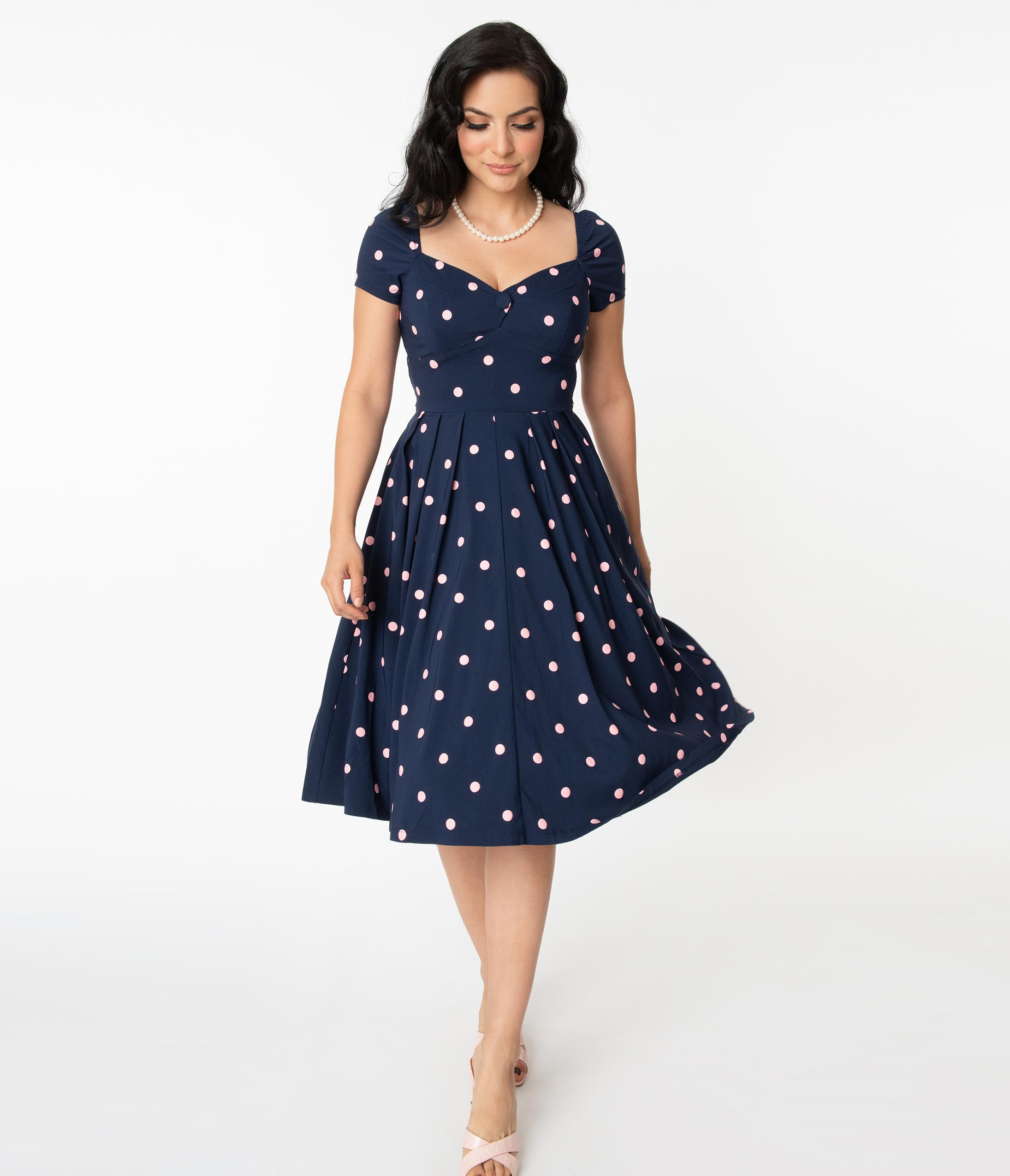 1950s Inspired Fashion: Recreate the Look Unique Vintage 1950S Navy  Pink Polka Dot Sweetheart Midge Swing Dress $78.00 AT vintagedancer.com