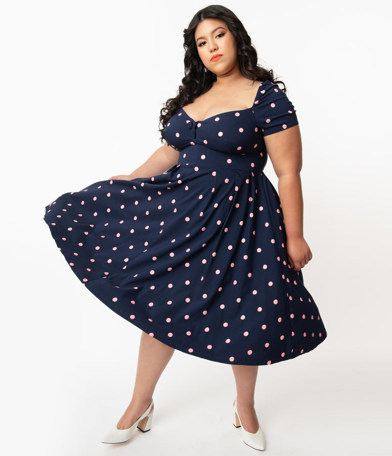 Unique Vintage Plus Size 1950s Navy & Pink Polka Dot Sweetheart Midge Swing Dress