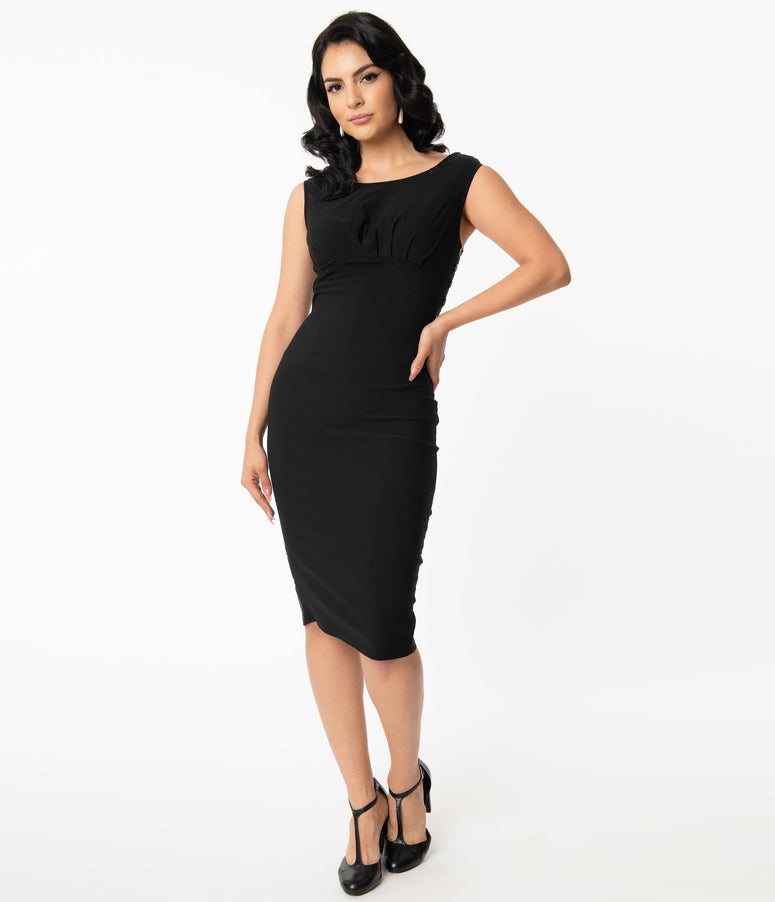 Unique Vintage Black Vivienne Pencil Dress