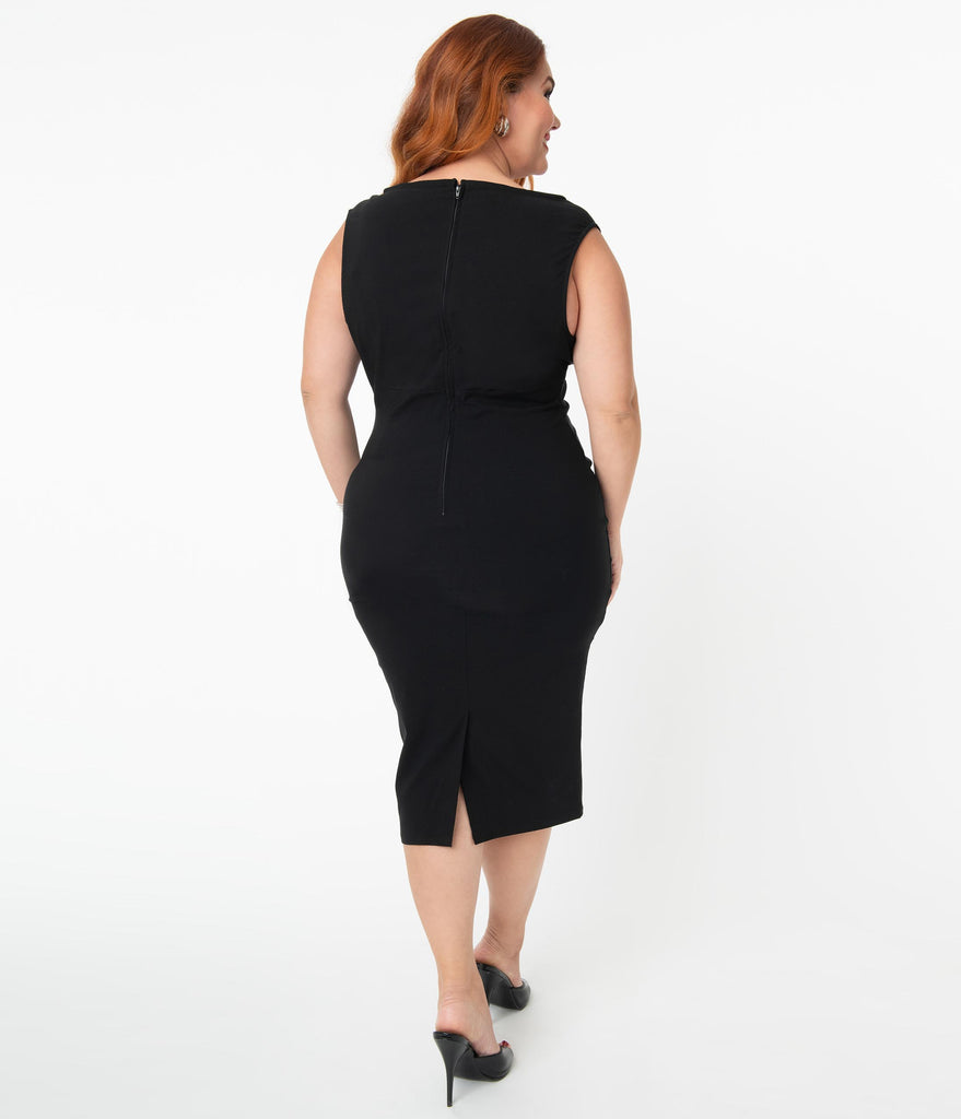 Unique Vintage Plus Size Black Vivienne Pencil Dress