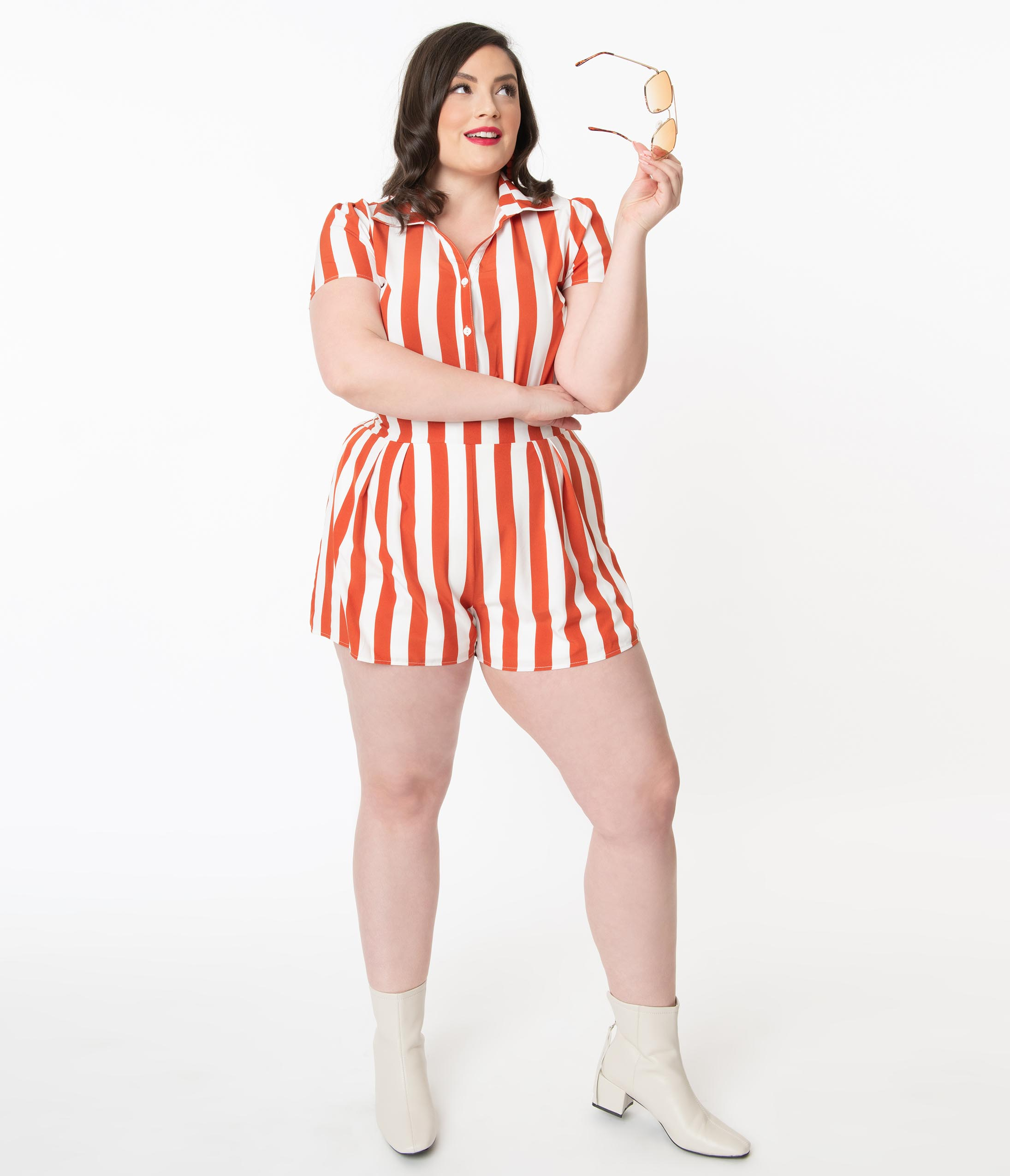 Vintage Rompers, Playsuits | Retro, Pin Up, Rockabilly Playsuits Plus Size Retro Style Rust  Ivory Stripe Romper $48.00 AT vintagedancer.com