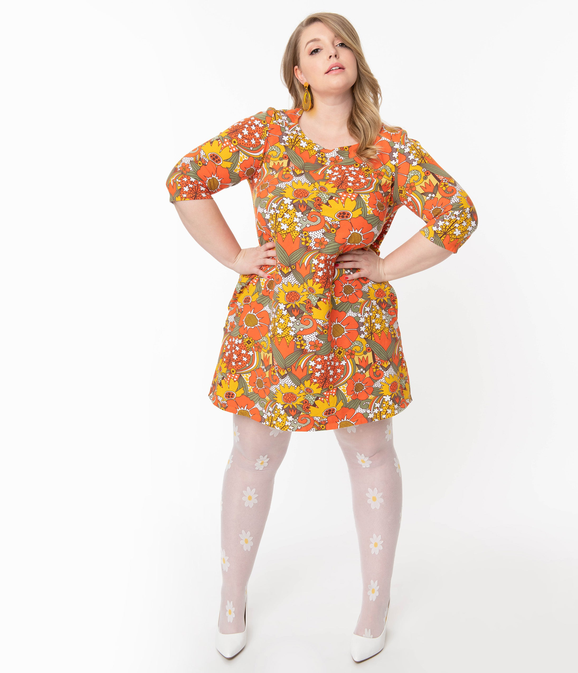 Vintage Style Dresses | Vintage Inspired Dresses Plus Size 1960S Orange  Green Retro Floral Print Tunic Dress $68.00 AT vintagedancer.com