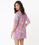 1960s Pink & Blue Retro Floral Print Tunic Dress