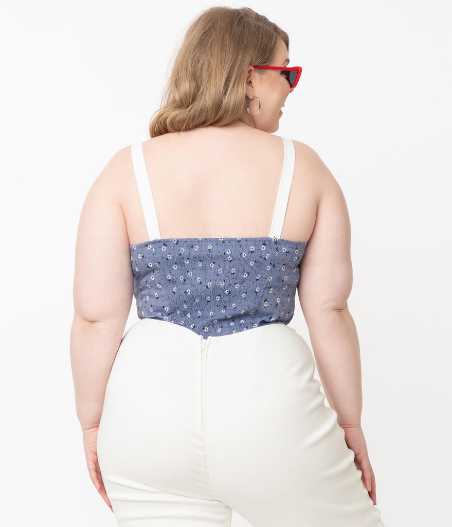 Unique Vintage Plus Size Blue & White Florals Billie Top