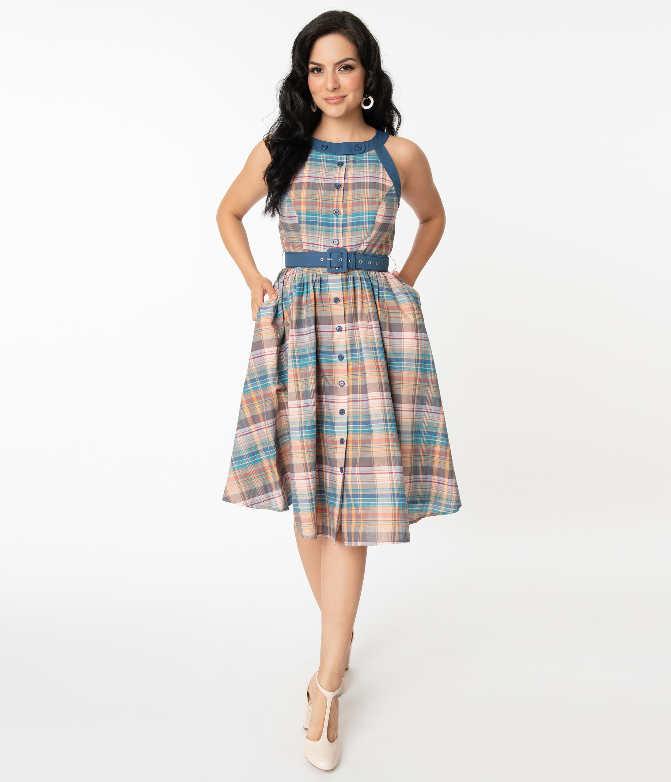 Pin Up Girl Costumes | Pin Up Costumes Unique Vintage Multicolored Plaid Maxine Swing Dress $98.00 AT vintagedancer.com