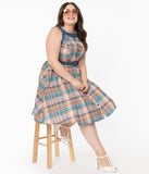 Unique Vintage Plus Size Multicolored Plaid Maxine Swing Dress