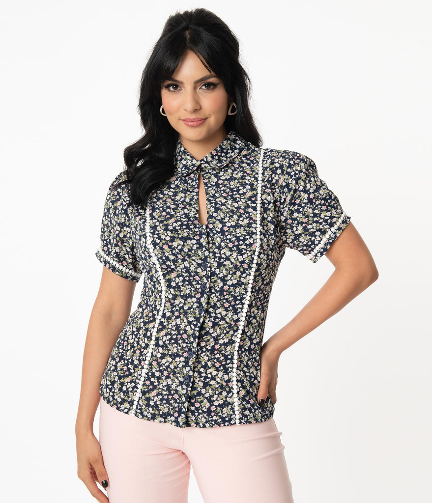 Unique Vintage Navy & Pink Ditsy Floral Pinky Top